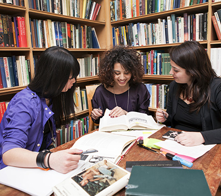 Picture of students in a library